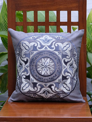 Mandala Grey Embroidered Polydupion Cushion Cover (16in x 16in)