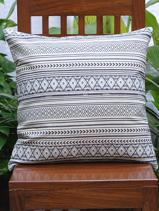 Geometric Cream And Blue Cotton Jacquard Cushion Cover (20in x 20in)