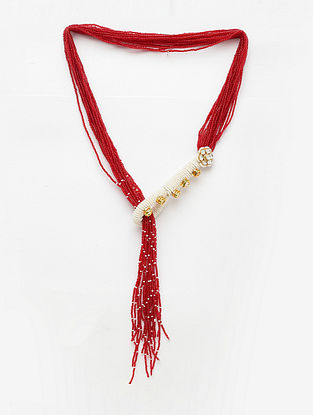 Red White Gold Plated Beaded Kundan Necklace