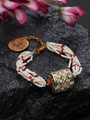 White Red Gold Plated Kundan Bracelet