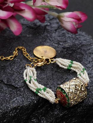 White Green Gold Plated Kundan Bracelet