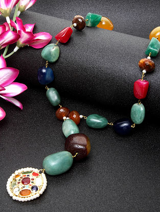 Multicolored Gold Plated Navratan Beaded Necklace