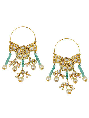 Blue Gold Plated Kundan Earrings With Pearls