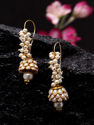 White Gold Plated Handcrafted Earrings With Pearls