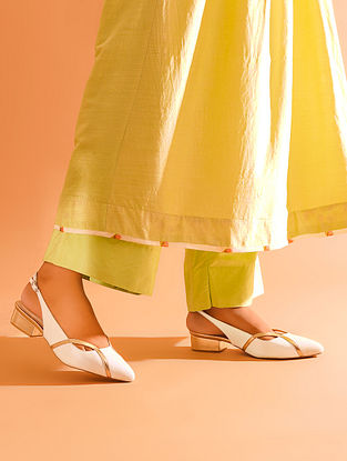 Ivory Gold Handcrafted Genuine Leather Block Heels