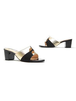 Black Gold Handcrafted Genuine Leather Block Heels