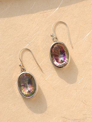 Purple Silver Earrings with Smoky Quartz