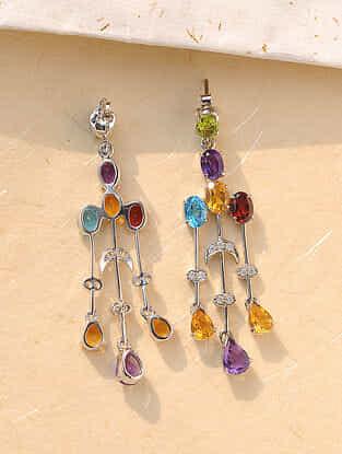 Multistone Silver Earrings