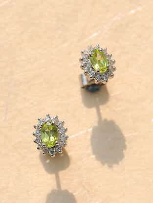 Green Peridot Silver Earrings