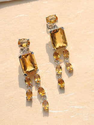 Yellow Topaz Silver Earrings