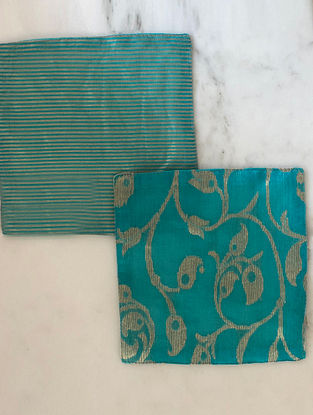 Turquoise Handwoven Chanderi Coaster (Set Of 2) (L- 5in x W- 5in)