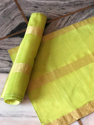Lime Green Handwoven Chanderi Table Mat (Set Of 2) (L- 13in x W- 19in)