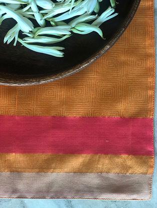 Tangerine Handwoven Chanderi Table Mat (Set Of 2) (L- 13in x W- 19in)