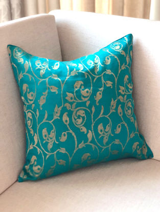 Turquoise Handwoven Chanderi Cushion Cover (L- 16in x W- 16in)