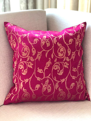 Fuschia Handwoven Chanderi Cushion Cover (L- 16in x W- 16in)
