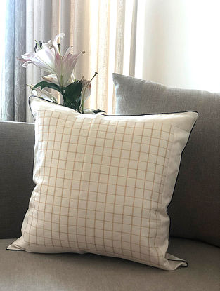 Off White Handwoven Chanderi Cushion Cover (L- 16in x W- 16in)