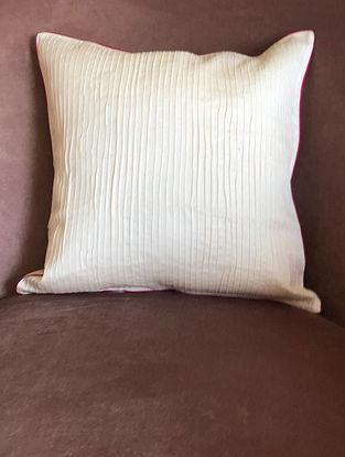 Off White Chanderi Cushion Cover (L- 16in x W- 16in)