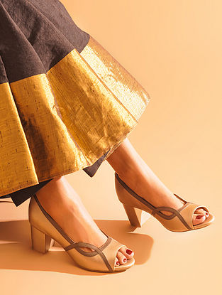 Light Gold Taupe Handcrafted Genuine Leather Block Heels