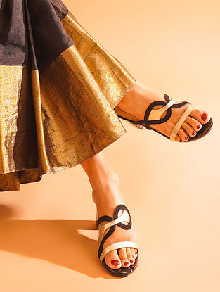 Black Gold Handcrafted Genuine Leather Block Heels