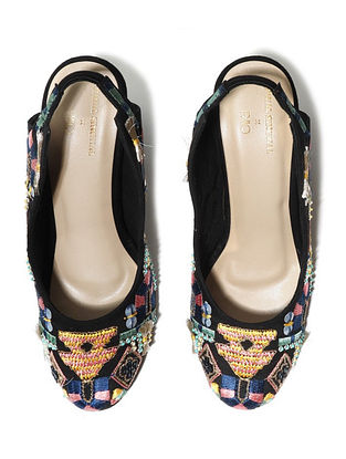 Multicolored Hand Embroidered Vegan Leather Block Heels