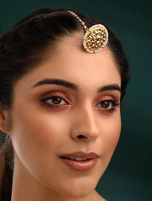 Gold Tone Kundan Borla With Pearls