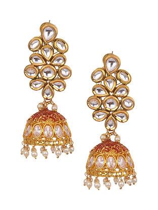 Gold Tone Kundan Jhumki Earrings