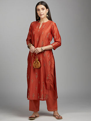 Rust Zari Silk Chanderi Kurta