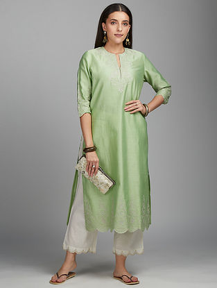 Lime Green Zari Silk Chanderi Kurta