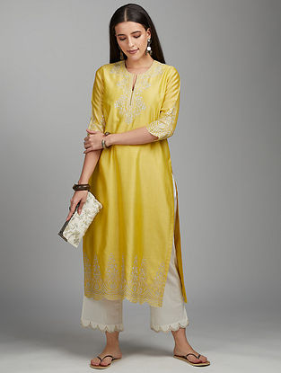 Yellow Zari Silk Chanderi Kurta