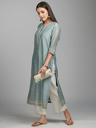 Green Grey Zari Silk Chanderi Kurta