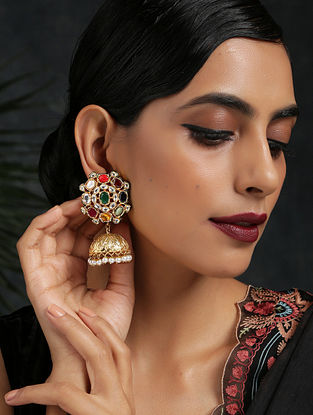 Multicolored Gold Tone Jhumki Earrings with Pearls