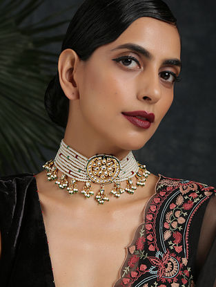 White Gold Tone Kundan Beaded Choker Necklace With Pearls