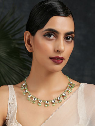 Green Gold One Kundan Necklace