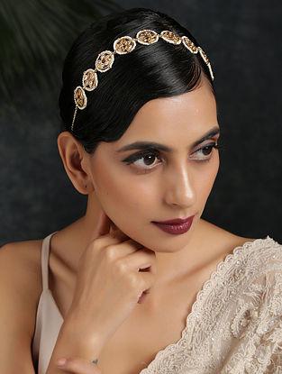 White Gold Tone Kundan Headband