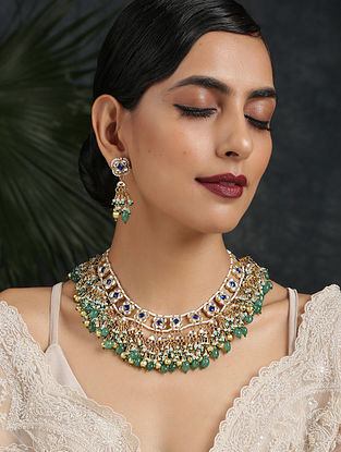 Blue Green Gold Tone Necklace And Earrings With Pearls