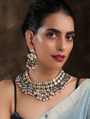 Grey Gold Tone Kundan Necklace And Earrings With Onyx And Pearls