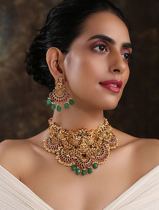 Green Red Gold Tone Temple Work Necklace With Earrings