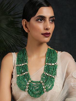 Green Gold Tone Kundan Beaded Layered Necklace