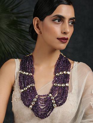 Purple Gold Tone Kundan Beaded Layered Necklace