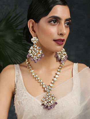 Purple Gold Tone Kundan Necklace With Earrings