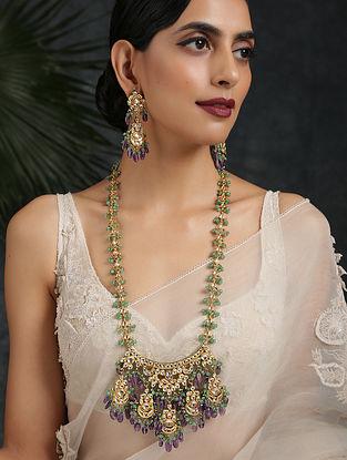Green Purple Gold Tone Kundan Necklace With Earrings