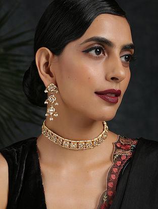 Gold Tone Kundan Choker Necklace With Earrings