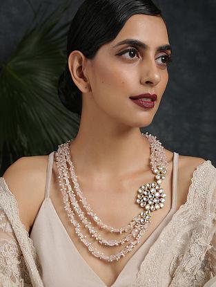 Pink Gold Tone Kundan Beaded Necklace