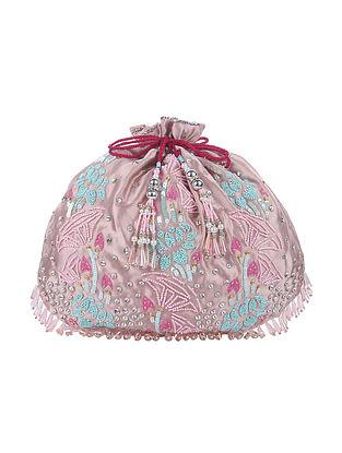 Pink Handcrafted Satin Silk Potli