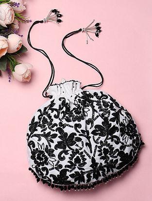 Black White Handcrafted Silk Potli