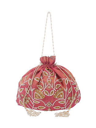 Red Gold Handcrafted Raw Silk Potli