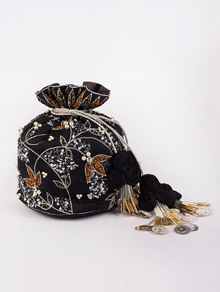 Black Hand Embroidered Heavy Linen Potli