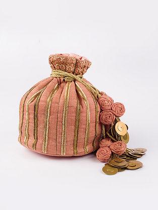 Pink Handcrafted Heavy Linen Potli