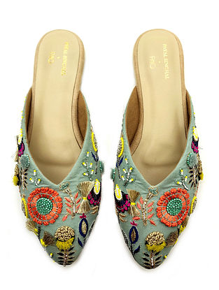 Multicolored Hand Embroidered Vegan Leather Mules