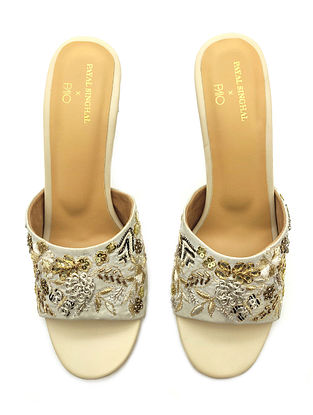 Cream Hand Embroidered Vegan Leather Pencil Heels